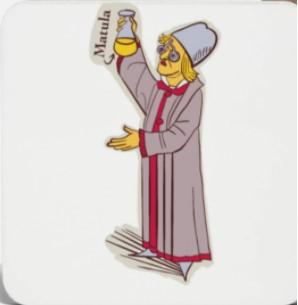 Médico medieval con matula: el color de la orina